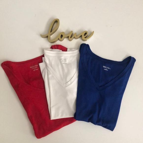 Merona Set Of (3) V-Neck Tee Shirts